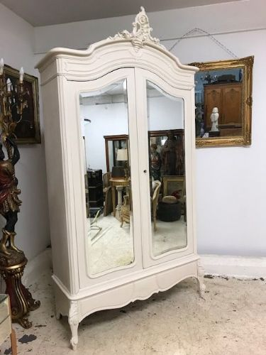 Lovely Painted Antique French Armoire Wardrobe (bookcase ) - k799